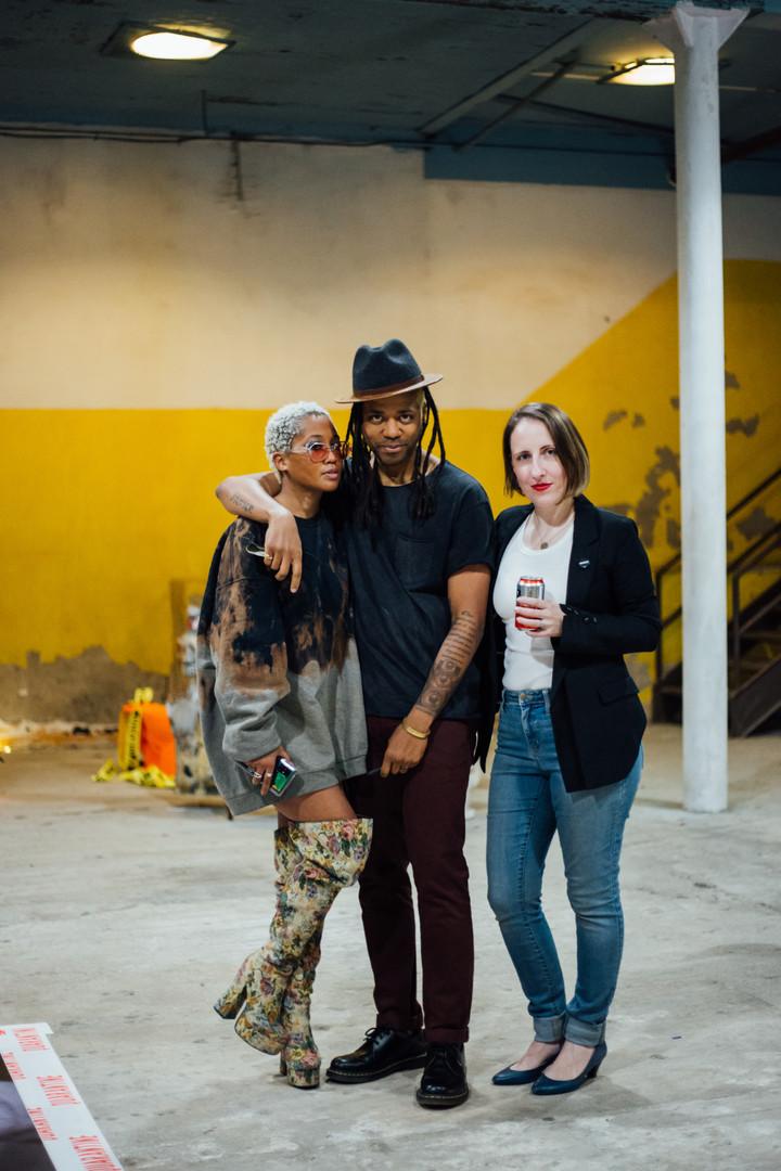 Artists Austance Caroline, Conrad Clifton and Lea Wülferth at Phase IV art exhibition at Gymnopedie, Brooklyn 12.06.2020