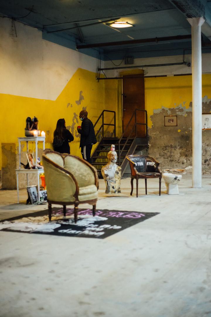 Austance Caroline's installation at Phase IV art exhibition at Gymnopedie, Brooklyn