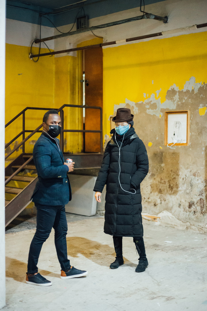 Visitors with Lea Wülferth's 'You Can't Sit With Us' at Phase IV art exhibition at Gymnopedie