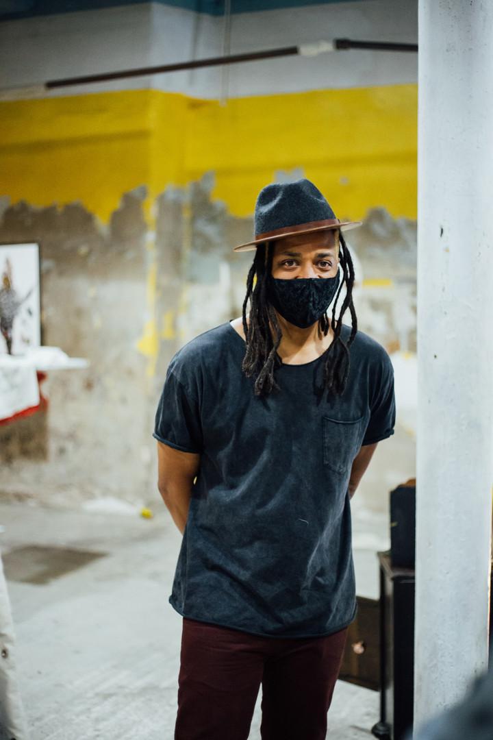 Artist Conrad Clifton at Phase IV art exhibition