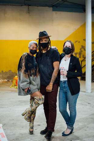 Artists Austance Caroline, Conrad Clifton and Lea Wülferth at Phase IV art exhibition at Gymnopedie, Brooklyn 12.06.2020