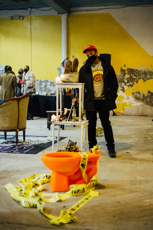 Viewing Austance Caroline's installation at Phase IV art exhibition at Gymnopedie