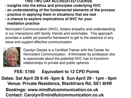 Two Day Course: 'Nonviolent Communication' in London 28th & 29th April
