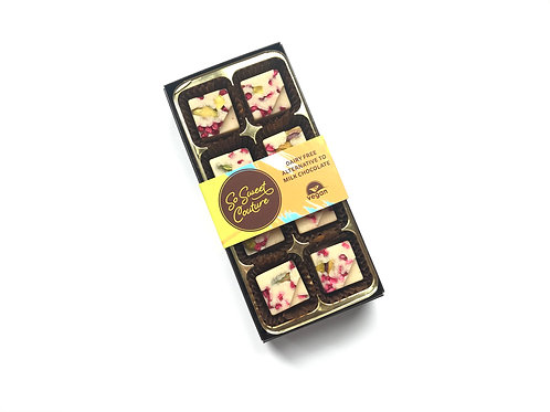 Dairy Free White Chocolate Raspberry & Pistachio Squares