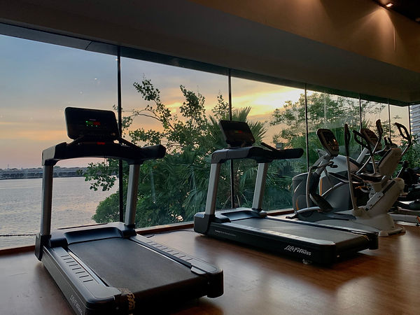 Gym fitness At Canapaya residences, life fitness treadmill, chao phraya river view, workout with a view, run with a view