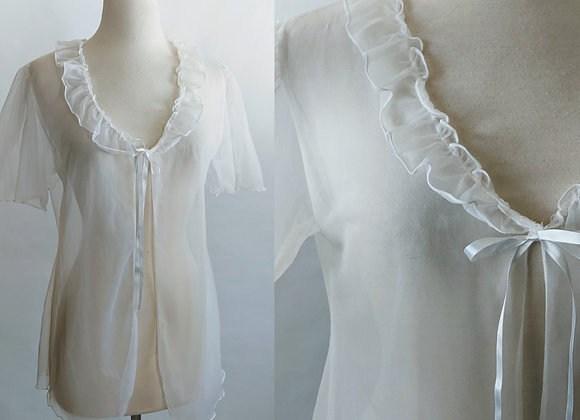 1970s sheer white negligee L