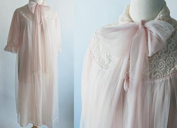 1960s Pink Chiffon Robe
