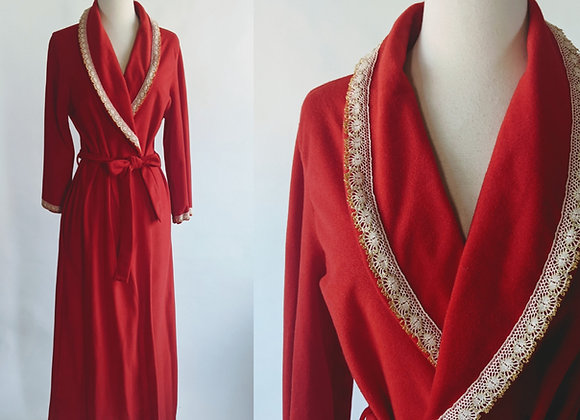 1970s red fleece robe S/M