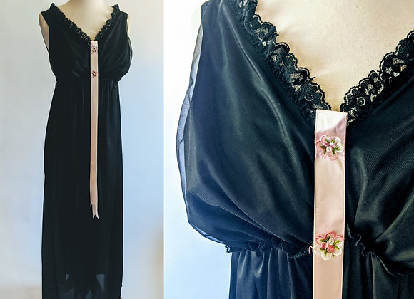 "1960s black Figurettes nightgown 32"" underbust"