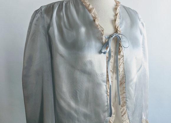 1940s dusty blue liquid satin bed jacket