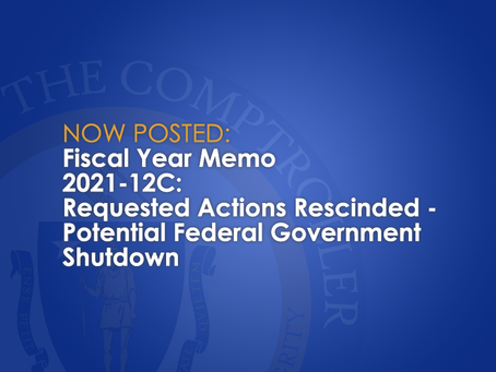 FY2021-12C: Requested Actions Rescinded - Potential Federal Government Shutdown.