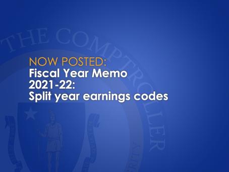 FY2021-22: Split year earnings codes Split year earnings codes