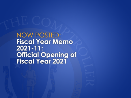FY2021-11: Official Opening of Fiscal Year 2021