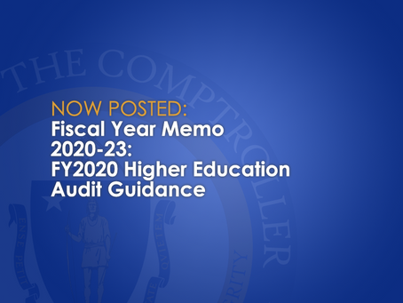 FY20-23: FY2020 Higher Education Audit Guidance
