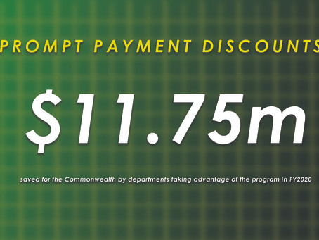 Prompt Payment Discount program saved Commonwealth $11.75 million in FY2020
