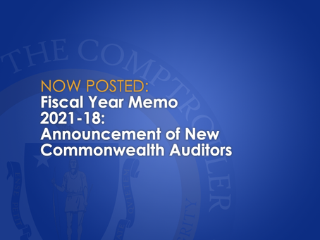 FY2021-18: Announcement of New Commonwealth Auditors