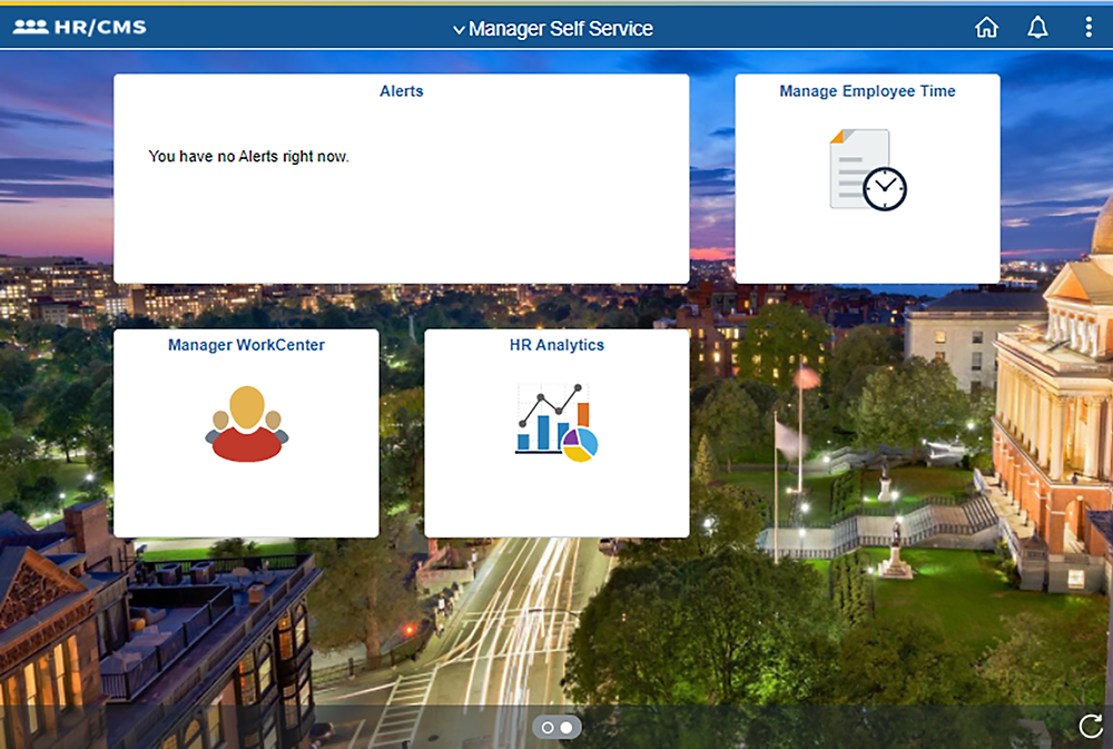 New employee Self Service tile-based menu, with Announcements, and links to Timesheet, Payroll, Personal Details, Talent Profile, Benefit Details, Delegations, System Settings, MassCareers, and Contact Employee Svc Center