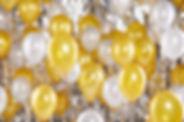 Gold und weißen Luftballons