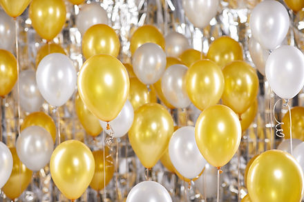 Gold and White Balloons