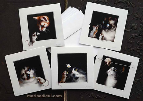 5 Greeting cards cats and mice