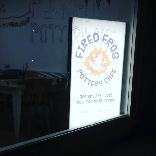 Our new backlit sign is in the window...