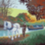 Horsedrawn narrowboat, finished painting