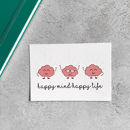 Happy Mind Happy Life A6 postcard