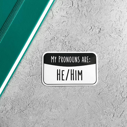 He/Him Pronoun Sticker