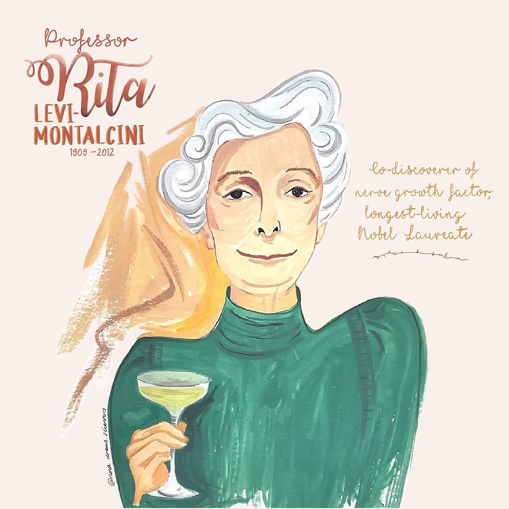 Nina's Illustration of Professor Rita Levi-Montalcini.