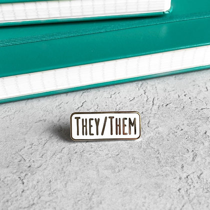 They/Them Pronoun Enamel Pin Badge