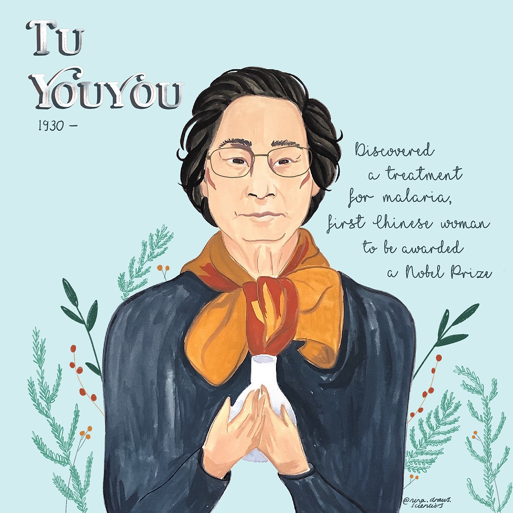Nina's Illustration of Tu YouYou a female nobel prize winner.