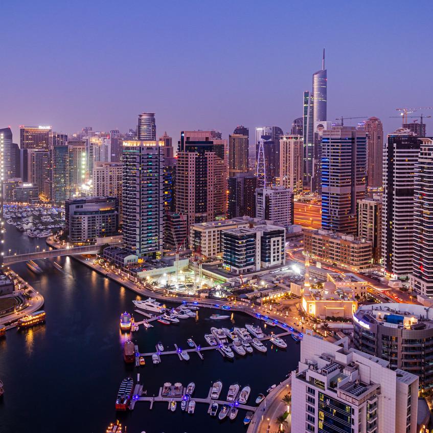 Dubai Marina during Blue Hour