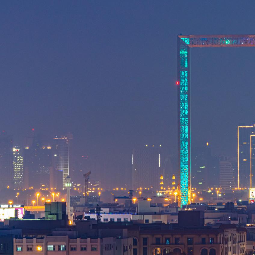 Panoramic Shot with Dubai Frame