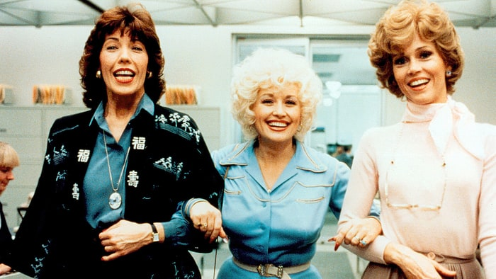 Lily Tomlin, Dolly Parton, and Jane Fonda in 9 to 5, 1980