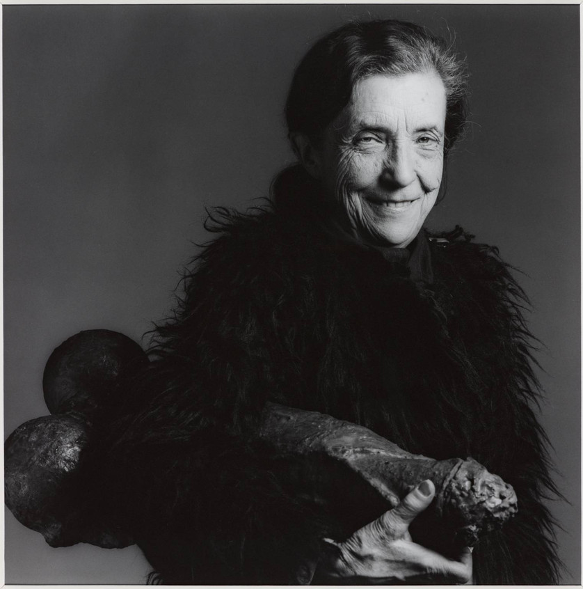 Louise Bourgeois by Robert Mapplethorpe, 1982 featuring her work, Fillette