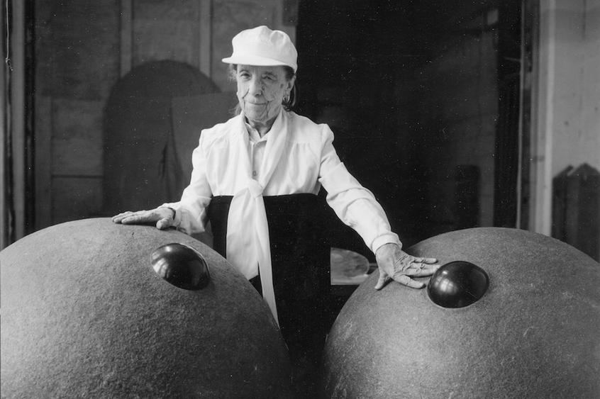 Louise Bourgeois at her Brooklyn studio