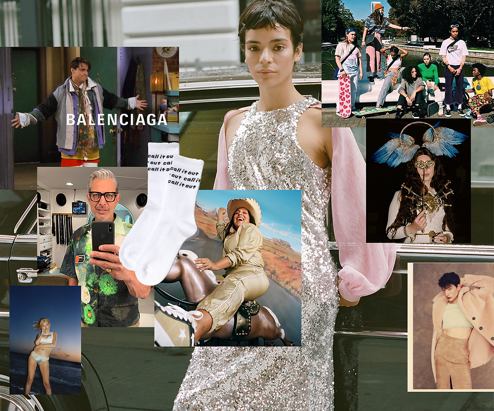Collage of 2018 favourites: A Friends/Balenciaga meme, Jeff Goldblum taking a selfie in Prada, Paloma Elsesser in a cowboy hat for MadeMe, Lana Del Rey at the Met Gala, a skater crew in Tokyo, and Ezra Miller in a fur coat for GQ.