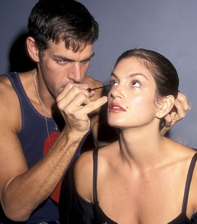 Kevyn Aucoin with Cindy Crawford, 1990s