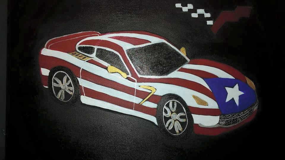 The Puerto Rico flag car