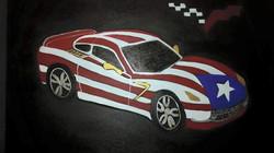 The Puerto Rico flag car