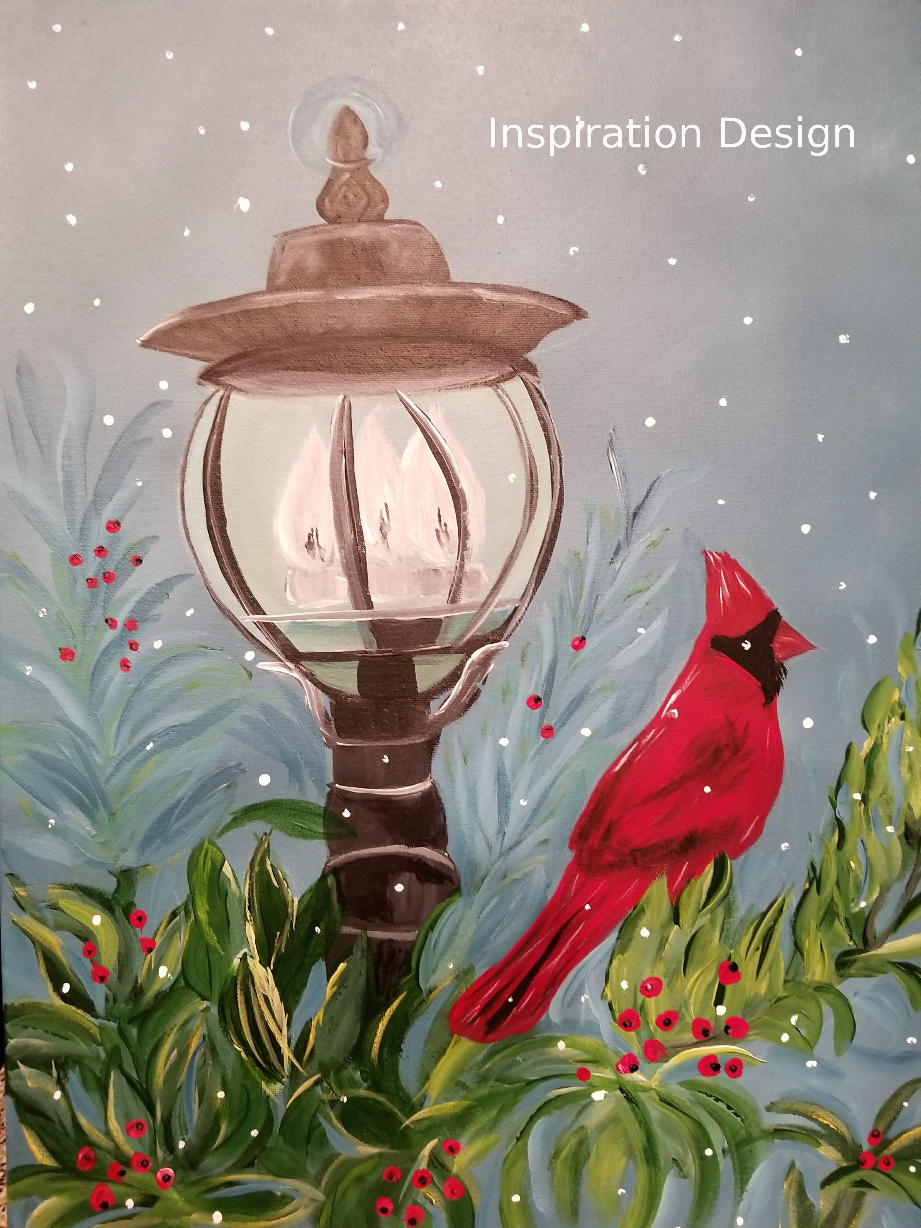Cardinal on a Lamp