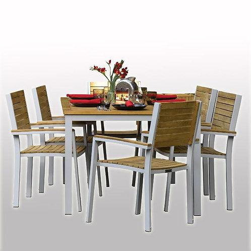 Outdoor Wood & Aluminum - Dining Set - Ash