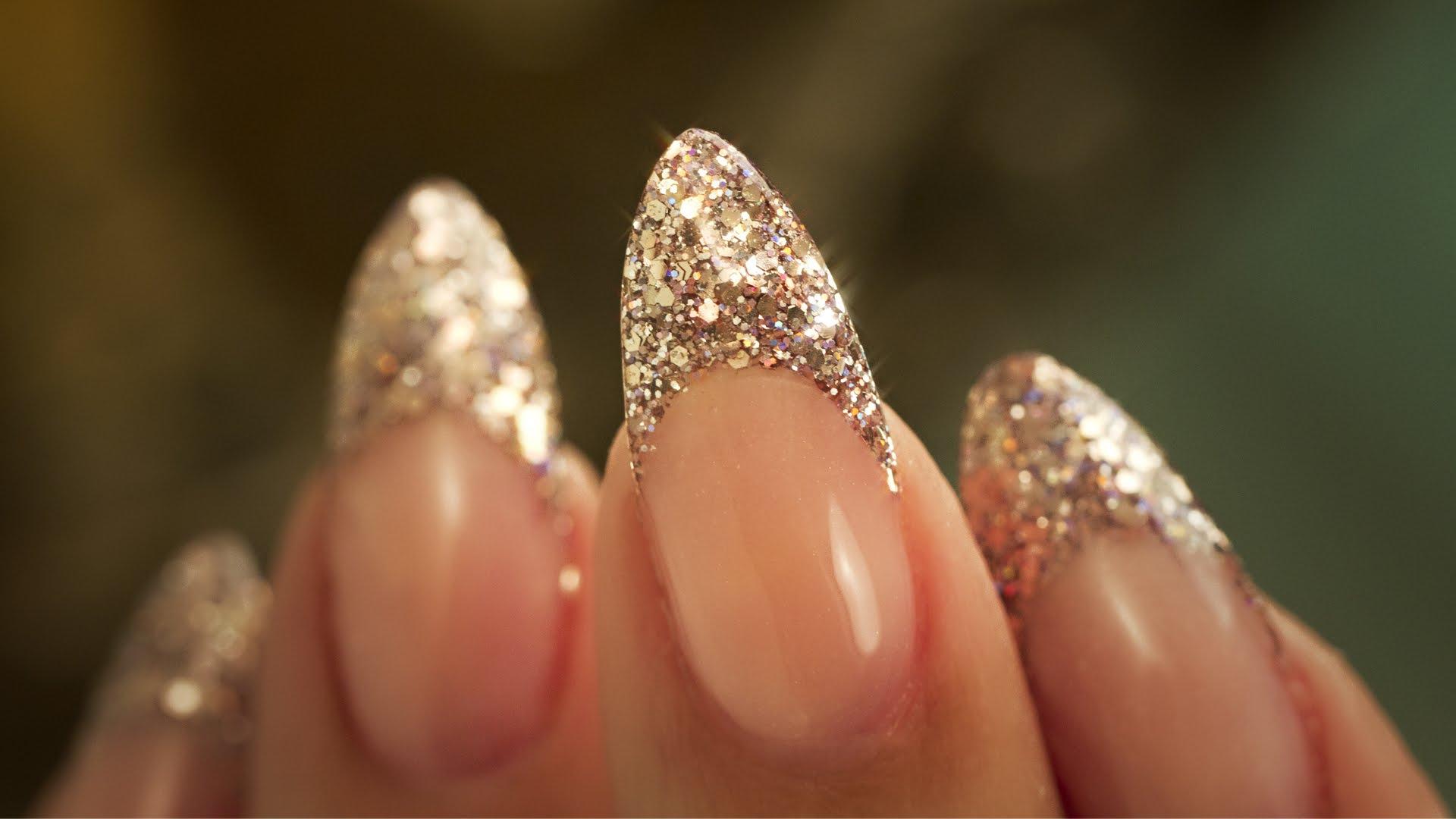 Encrusted Glitter Gel Nails