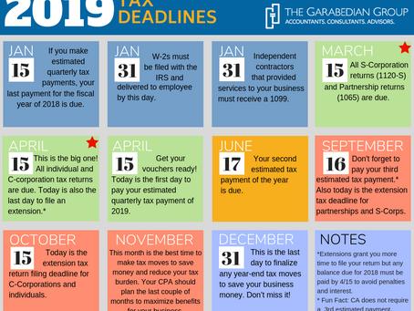 2019 Tax Deadlines