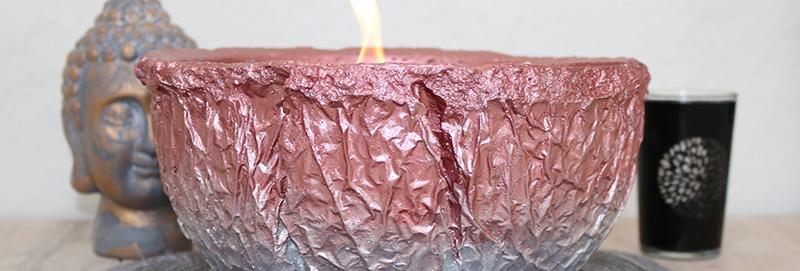 Vulkanschale Relief BIG rosé/silber