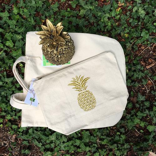 Grande pochette éthique ananas or pailleté