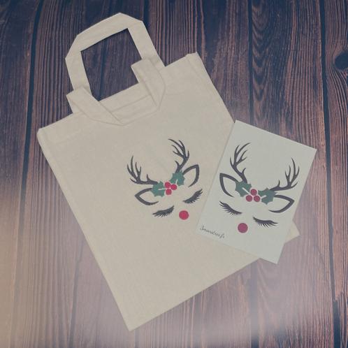 Sac cadeau brodé renne de Noël réutilisable 0 déchet