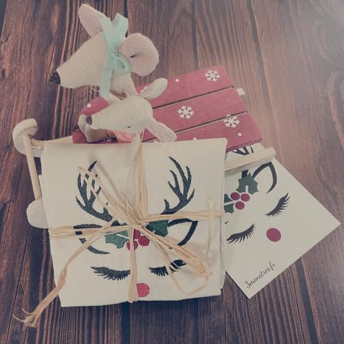 Pochon cadeau en coton organique brodé Noël
