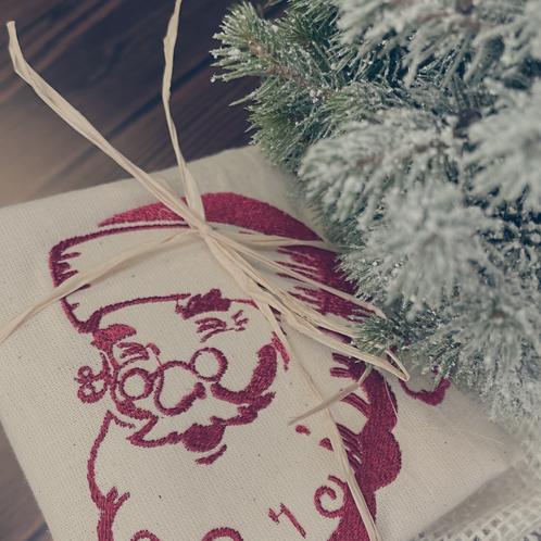 Sac cadeau brodé Père Noël vintage réutilisable 0 déchet