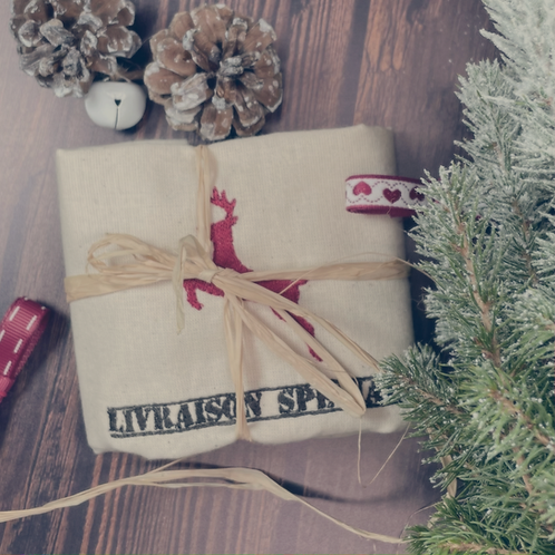 """Sac cadeau brodé """"livraison spéciale"""" réutilisable 0 déchet"""